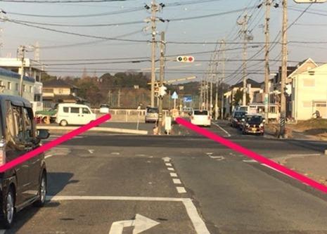 事故状況 直進車と右折車 道路の直線比較